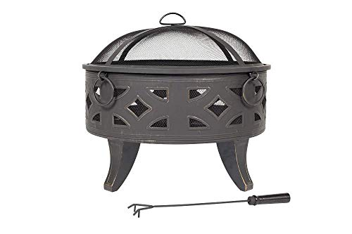 La Hacienda 58091 Feuerstelle mit Grillrost, tiefer Stahl, Bronze-Effekt