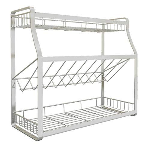 Polai 3 Etagen Gewürzregal Küchenregal, Küchen Regal Metall, Küchenregal Standregal Arbeitsplatte für Küche, Badezimmer, Bad und Büro, 45cm