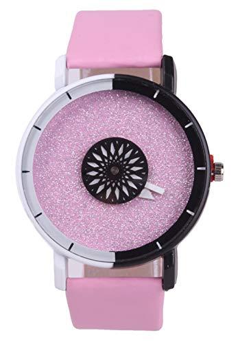 Actim Personalidad Creativa Cuarzo Eatch Disco de Dos Colores Segundos Pareja Estudiante Moda Casual Simple Reloj, Pink