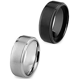 BE STEEL Schmuck 1-2PCS 8MM Edelstahl Ringe Matt für Herren Damen Hochzeits Engagement Ringe Band Vintage Schwarz und Silber-Ton