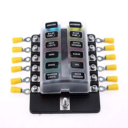 12-Fach Sicherungshalter Rote LED-Anzeige Sicherungskasten für Boot Wohnwagen Wohnmobil Schiff Insel-Solaranlage marine RV Solaranlage KFZ mit Sicherung Verdrahtungsterminal PBT Material