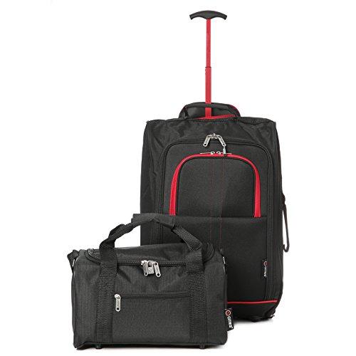 Ryanair Cabin 55x40x20cm Approuvé & Second 35x20x20 Main Luggage Set - Carry On les deux! (Noir-Rouge / Noir)
