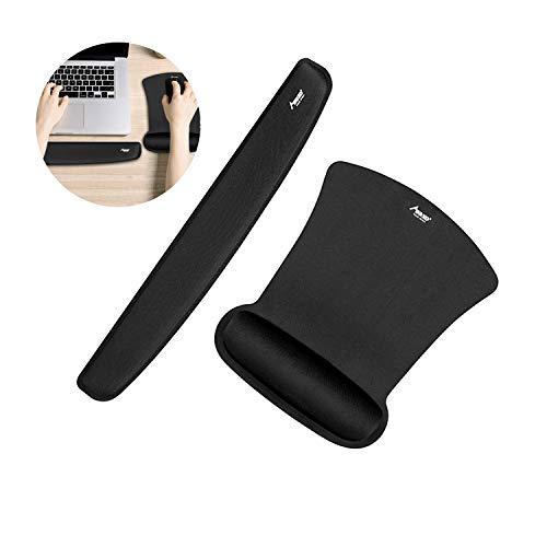 Mauspad ergonomische Handgelenkauflage Set 2018 Neuste Gaming Mauspad Mad Giga für Spiele Grafikdesign Büro 43x 24x 3cm Rutschfest Fransenfreie Ränder für Computer, Laptop, PC Schwarz