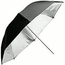 Paraguas grande para hombre y mujer, 135 cm, Anti-viento doble, color negro y plateado