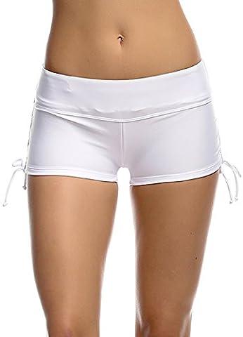 Imixcity® Femmes Shorts de Bain Classique S'adapter pour l' Yoga, Jogging, Natation、Plage 、Piscine (S=FR 34/36, Blanc)