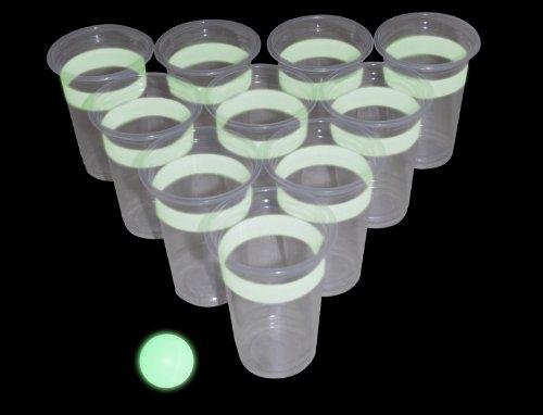 Beer Pong Glow in the Dark (leuchtet im Dunkeln) Trinkspiel - 22 Becher, 2 Bälle thumbnail