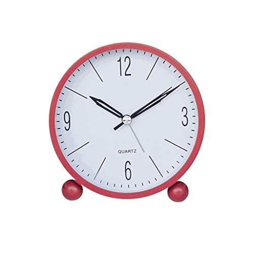 Unbekannt Kreative Wecker Stumm Einfacher Wecker Student Nachttisch oder Studie Kleine Frische Mode Tischuhr Rot (Farbe : Rot, größe : 11 × 11 × 5 cm)