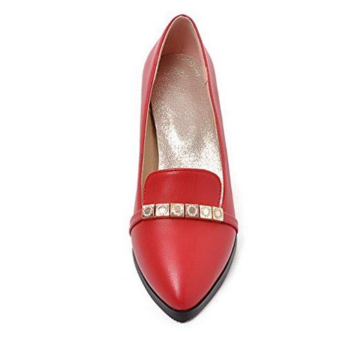 VogueZone009 Femme Mosaïque Pu Cuir à Talon Correct Pointu Tire Chaussures Légeres Rouge