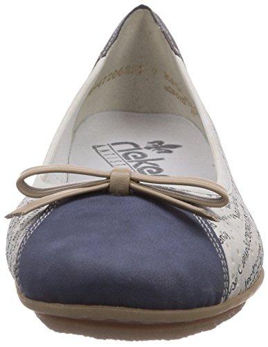 Rieker - 43950, Ballerine Donna Bianco (Denim/ice/shark / 15)