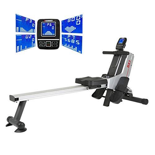 HAMMER Premium Rudergerät RX1 - Race Rower mit über 20 Trainingsprogrammen, darunter EIN Wettbewerbs-Programm, Fatburn-Programm, Herz-Programm u.v.m, platzsparend und leicht aufstellbar