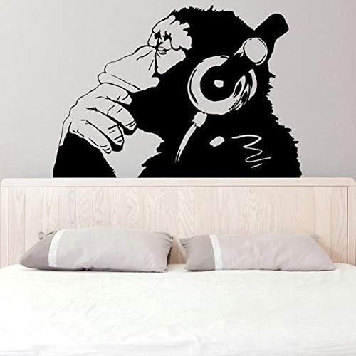 sswymx Banksy Vinyl Wandtattoo AFFE Mit Kopfhörer Schimpanse Musik Hören In Kopfhörer Straße Graffiti Aufkleber Wandbild Poster61x42 cm