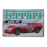KellyPlaques Ferrari 250 GT Racing Car, Vintage Blechschild, 20 x 30 cm, Wanddekorationsschild