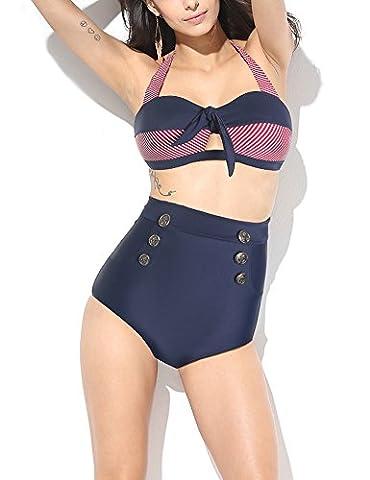 MinYuocom Femme Maillot De Bain Tankinis Bikini Ensembles deux pièces Taille Haute Marine
