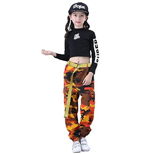 Mädchen Jazz Dance Kostüm Hip Hop Street Dancewear Kinder Dance Camo Kleidung Set