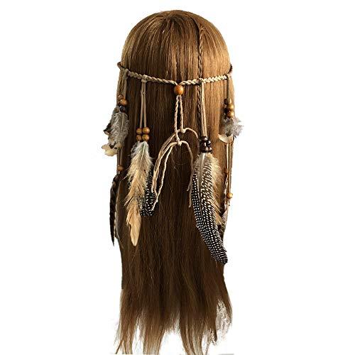 Ealicere Damen Hippie Boho Indianer Stirnband Feder Stirnbänder für Abendkleider Halloween Karneval