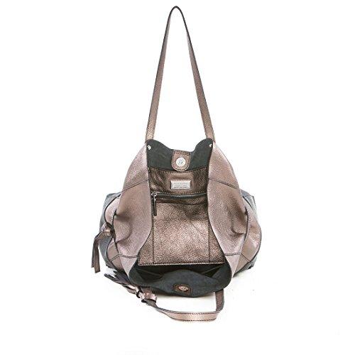 168ca74fcdee7 ... Arcadia Designer Kiara Große Metallic-Hobo-Tasche aus Leder Bronze und  Schwarz ...