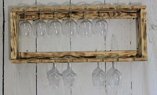 dekorie67 Gläserhalter Passend für Weinregal Weinglashalter Holz Sektglas Braun geflammt