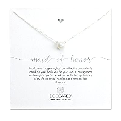 Dogeared 925 Sterling Silver and Large White Pearl Maid of Honor Necklace of Length 40.64 cm with 5 cm Extender