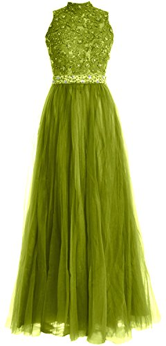 MACloth Women High Neck Lace Tulle Long Prom Dress Wedding Party Formal Gown Olive Green