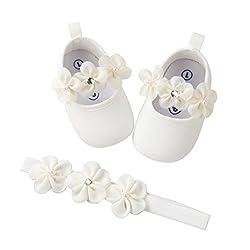 EDOTON Baby Mädchen 2 Pcs Kleinkind Party Schuhe Mit Stirnband, Weiß, Gr.- 0-6 Monate/Herstellergröße- 1