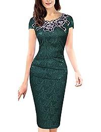 247992e3c7e4 Donna Vestiti Tubino al Ginocchio Eleganti da Cerimonia Estivi Vestito da  Sera Maniche Corte Ricamo Fiori Vintage Matita Abito da…