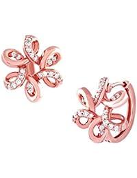 TBZ The Original 18KT Rose Gold and Diamond Hoop Earrings for Women