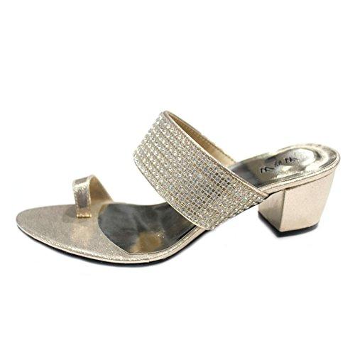 W & W Frauen Damen Abend Komfort-Sandale Original Swarovski-Stein Hochzeit Party Medium Blockabsatz Schuhe Größe 4–9(Peri) Gold