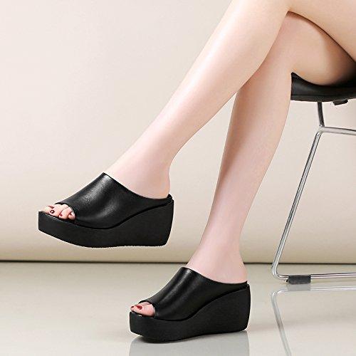 ZPPZZP Mme sandales chaussons Korean Style épais piscine plage à haut talon avec la pente 38EU