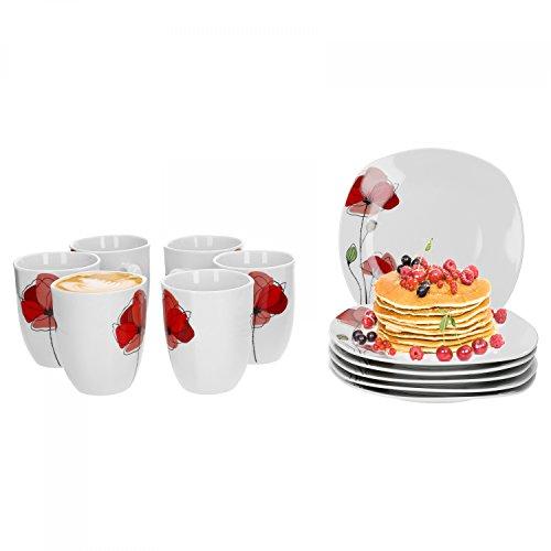 Van Well Monika 12-tlg. Frühstücksservice, für 6 Personen, Frühstücksteller + Kaffeebecher,...