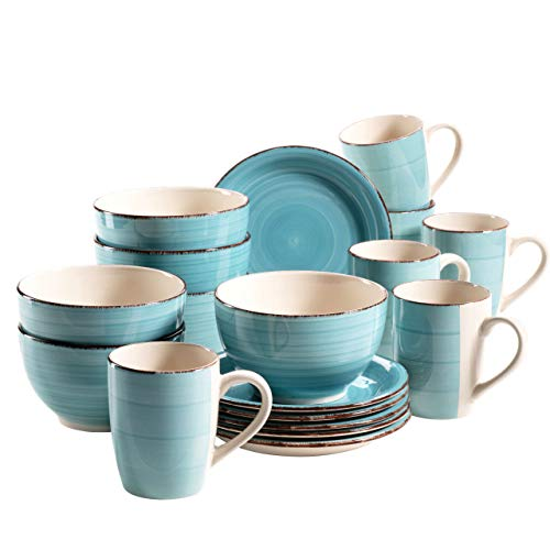 MÄSER 931496 Bel Tempo II Frühstück-Service für 6 Personen im Vintage Look, handbemalte Keramik, 18-teiliges Geschirr-Set, Türkis, Steingut Vintage Keramik