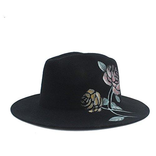XIEWEICHAO 100% Wolle Handbemalte Blumen Fedora Hat for Frauen (Farbe : 1, Größe : 57cm-59cm) -