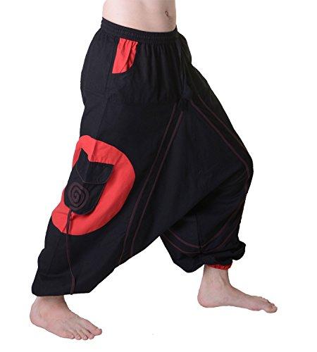 KUNST UND MAGIE Herren Hippie Haremshose mit Goa Spiral Muster, Größe:S/M, Farbe:Schwarz/Rot