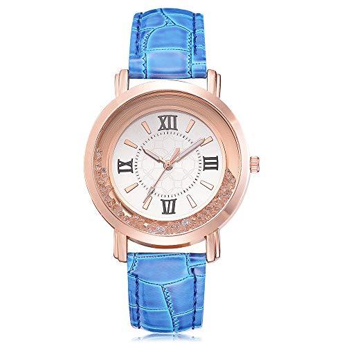 Dorical Damen -Armbanduhr Analog Quarz mit Diamant Ultradünn/Classic Minimalistisches Design Luxury Armbanduhr Kunstleder für Frauen Ausverkauf(Blau)