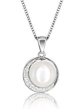 J.Vénus Damen Mond Perlenkette Kleine Perle Halskette 925 Sterling Silber Zirkonia Anhänger mit Etui Italien kette