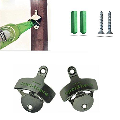 Boomboost Rostfrei An der Wand montiert Flaschenöffner, Auto Bieröffner Mit zwei Schrauben Praktisch Werkzeug 2pc / Set (Auto Flaschenöffner)