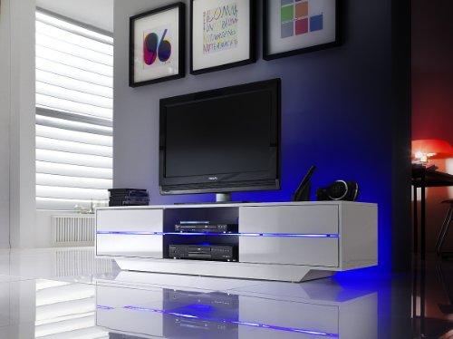 Robas Lund 59075W14 Blues Media TV Lowboard, Klarglasboden, RGB LED Wechselbeleuchtung mit Fernbedienung, 4 Schubkästen, 2 Fächer, 160 x 40 x 36 cm, MDF Hochglanz weiß lackiert - 6