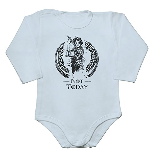 "Arya ""Not Today"" Phrase Artwork Baby Bodysuit Mameluco largo de la man"