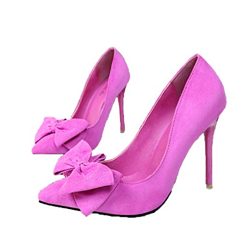 Women Shoes Pumps Fashion Sweet fine with high-Heeled Pointed Pointed Suede Bow Women's Shoes .ZWM-305 Rose 36