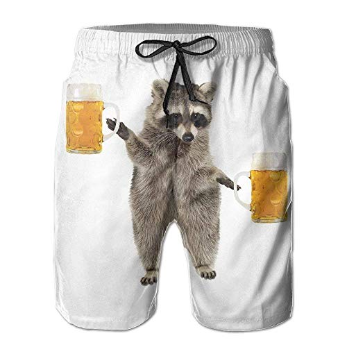 c93cb0d1ad Mens/Men's Funny Raccoon Wite Beer Summer Beach Shorts Casual Pants  Printing Quick Dry Beach