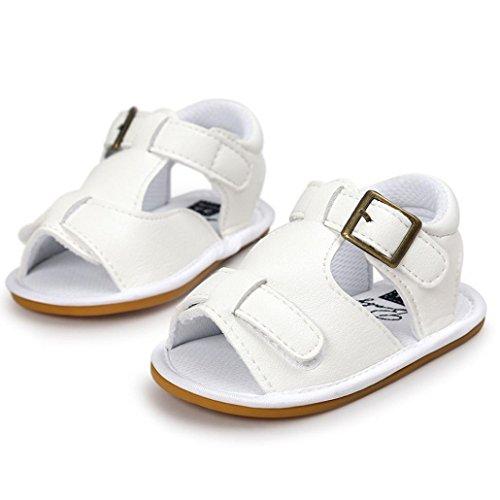 Scarpe per bambini Koly_Neonati maschi sandali del pattino dei pattini casuali della scarpa da tennis antiscivolo morbida Sole Bambino White