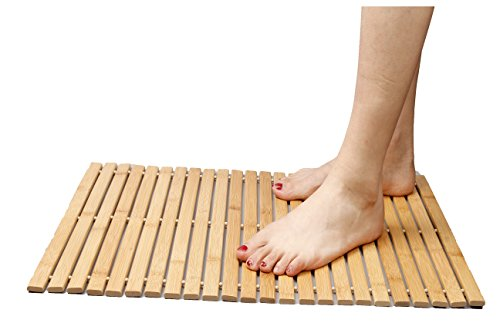 Faltbare Bambus Schritt SPA Mat Indoor / Outdoor Bad, Dusche und Bodenmatte Rutschfeste Unterseite wasserdicht Vented Design HomeToilet Badezimmer Spa Sauna Mat(60*40cm) - Schritt-spa-schritte