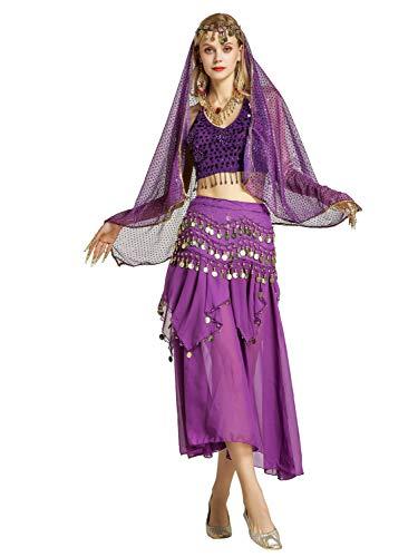 Kostüm Moderne Tanz Indische - Zengbang Damen Bauchtanz Performance Kostüm Ärmellos Leibchen Top Maxirock Halloween Tanz Kostüm Lila(7PC)