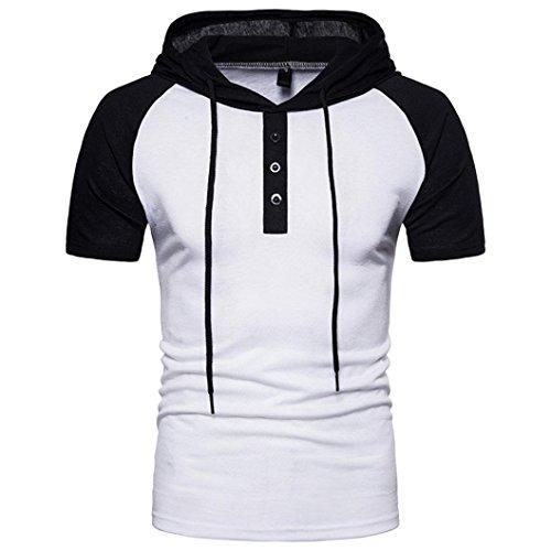 Preisvergleich Produktbild Patchwork Hoodie Hooded VENMO Poloshirt Herren Polo Shirt mit Stehkragen Cooles T-Shirt Sommer Strand Party Club Casual Sport T-Shirt Kurzarm Hedging Slim Fit Bluse für Jogging Yoga Tops (White, M)