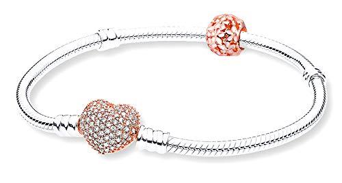 925 Silber Rosegold Vergoldet Herz Pave Schlangenkette Charm-Armband mit Kristallen und rosa Blume perlen | Basic Starter Set Bracelet Heart Paved Rose Gold | Kit de...