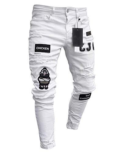 Pantalones Vaqueros Hombres Rotos Pitillo Slim Fit Skinny Pantalone Casuales Elasticos Agujero Pantalón Personalidad Jeans de Insignia Blanco L