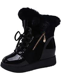 Botas de nieve para mujer Zapatos de niñas Señoras Felpa Con cordones Suave Punta redonda Plano Invierno Calentar Pelaje Corto Botines Martín Botas LMMVP