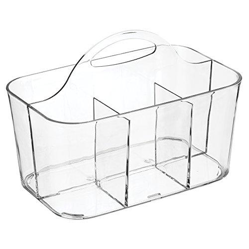 mDesign Caja de almacenaje para artículos de bebé - Organizador de baño y ducha con asa para transporte - Cesta organizadora transparente para champú, gel de ducha, toallas, talco para bebé