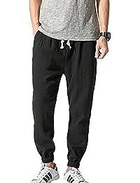 DianShaoA Hombres Holgados Pantalones Rectos Con Cinturón Elástico Cómoda Informal Pantalones Harem De Lino ocJ6XIYv