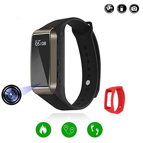 Ugetde Smart-Armband HD 1080P Überwachungskamera, Armband mit Schritten Kalorienzähler, Smart Time Display für iOS und Android (TF-Karte Nicht im Lieferumfang enthalten), braun