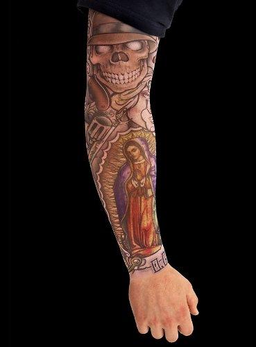 arty Kostüm Gangster Tattoo Skin Ärmel zum Überziehen (Scharfe Zähne-kostüm)